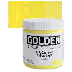 Golden Heavy Body Artist Acrylics - Cadmium Yellow Light, 16 oz Jar