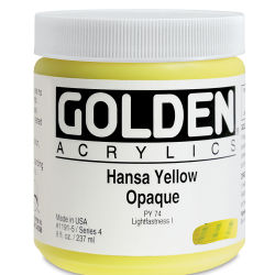 Golden Heavy Body Artist Acrylics - Hansa Yellow Opaque, 8 oz Jar