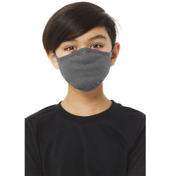 Bella Canvas Kids Reusable Face Mask - Deep Heather, Shown in use.