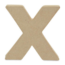"DecoPatch Paper Mache Small Kraft Letter - X, Lowercase, 3-2/5"" W x 3-2/5"" H x 1/2"" D"