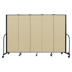 Screenflex Portable Room Dividers - 6 ft x 9 ft, Wheat, 5 Panel
