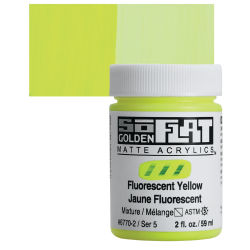Golden SoFlat Matte Acrylic Paint - Fluorescent Yellow, 59 ml, Jar with Swatch