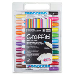Marvy Uchida Graffiti Fabric Markers - Set of 30, Assorted Colors
