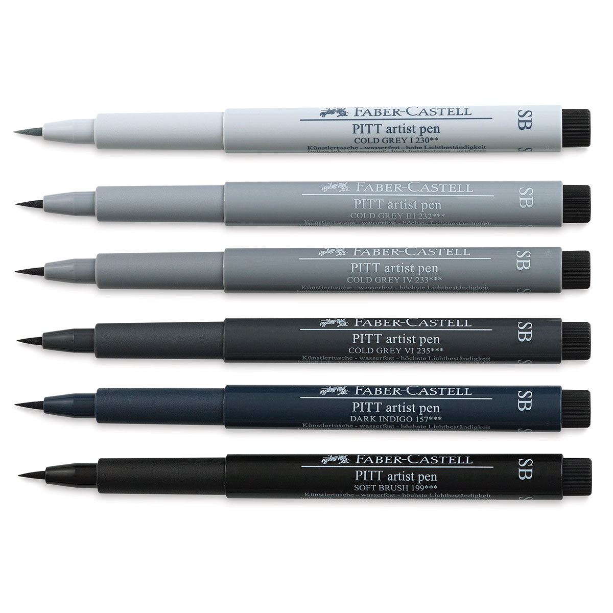 Faber-Castell 6 x Pitt Artist Pens Soft Brush Shades of Grey