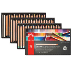 Caran d'Ache Luminance Colored Pencils-Set of 76. Outside of package and three open pencil trays.