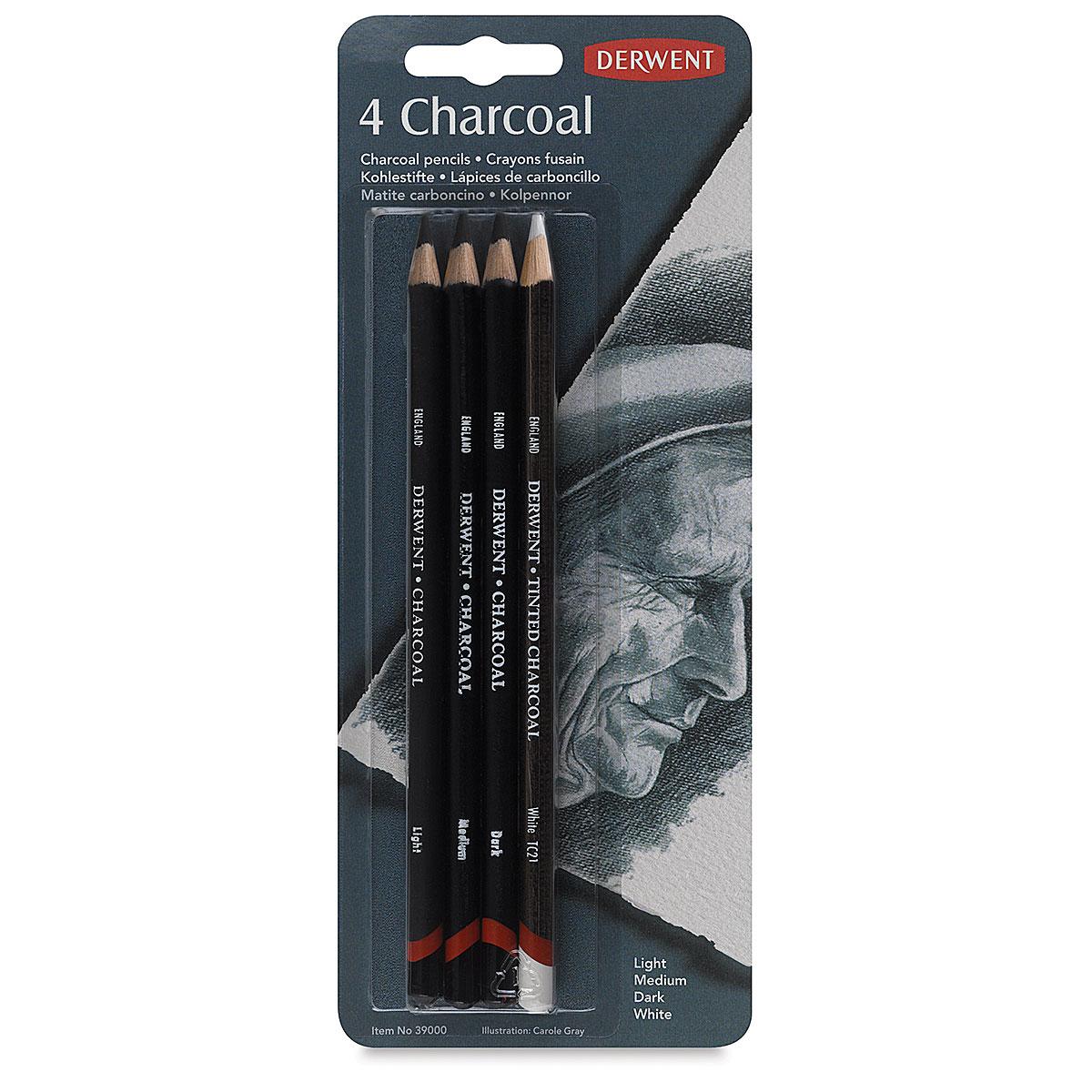Sharpener Tin of 6 Pencils DERWENT Charcoal Pencil Set