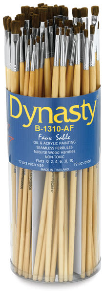Dynasty Synthetic Sable Brush Canister - Flat, Long Handle, Canister of 72
