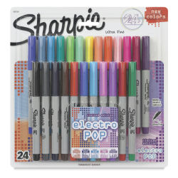 Sharpie Ultra-Fine Point Marker Set - Assorted with Electro Pop Colors, Set of 24
