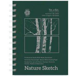Pentalic Nature Sketch Book - 7'' x 5'', 50 Sheets