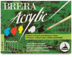 Maimeri Brera Artist Acrylics - Primary Colors, Set of 5, 2 oz tubes