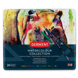 Derwent Watercolor Pencil Set - Assorted Colors, Tin Box , Set of 24