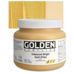 Golden Heavy Body Artist Acrylics - Iridescent Bright Gold (Fine)(65), 32 oz Jar