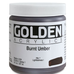 Golden Heavy Body Artist Acrylics - Burnt Umber, 8 oz Jar
