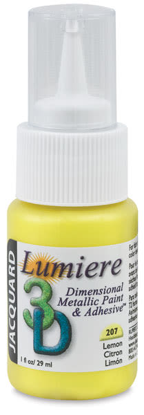 Jacquard Lumiere 3D Dimensional Metallic Paint and Adhesive - Lemon, 1 oz bottle