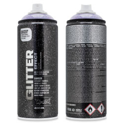 Montana Glitter Effect Spray Paint - Glitter Amethyst, 11 oz (Front and back of spray can)