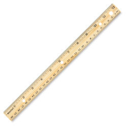 Westcott Wood Ruler Measuring Metric and 1/16'' Scale - Hole-punched, 12''