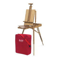 Blick French Easel by Julian - Easel set up with red Canvas Carrying Bag at base of front legs.