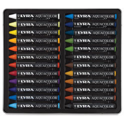 Lyra Aquacolor Crayon Set - Assorted Colors, Water-Soluble, Set of 24