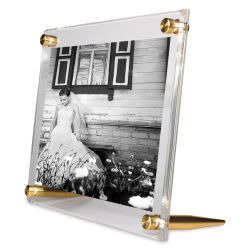Wexel Art Acrylic Panel Frame - Double Panel, Tabletop, Gold Hardware