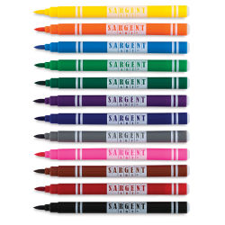 Sargent Art Classic Brush Tip Markers - Set of 12, Washable