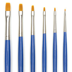 Blick Scholastic Golden Taklon Brush Set - Bright, Long Handle, Set of 6