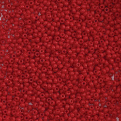 John Bead Czech Glass Seed Beads - Medium Red, 10/0, 22 g vial