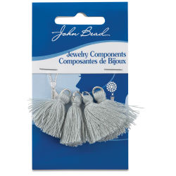 John Bead Cotton Tassels - Grey, Pkg of 4