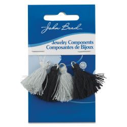 John Bead Cotton Tassels - Black and Grey, Pkg of 4