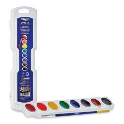 Prang Semi-Moist Watercolor Pans - 8-Assorted Colors Set, Oval. Open with brush and  standing lid.