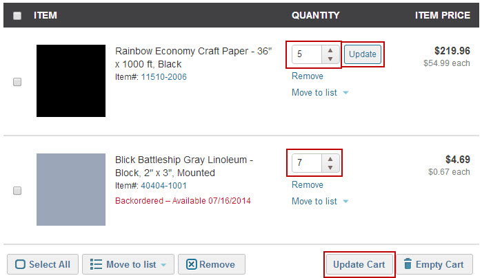 in the cart, change the quantities, highlighting quantity and how to update