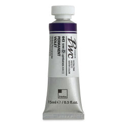 PWC Extra Fine Professional Watercolor - Permanent Violet, 15 ml, Swatch with Tube