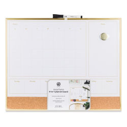 U Brands Gold Frame Dry Erase 2-in-1 Planner Board
