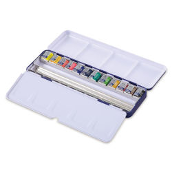 Winsor & Newton Cotman Watercolor-Blue Box Set of 12 Half Pans Assorted.  Palette lid open.