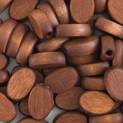 John Bead Euro Wood Beads - Dark Brown, Flat Oval, 10 mm x 15 mm, Pkg of 50