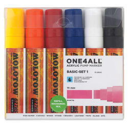 Molotow One4All Acrylic Markers - Set of 6, 15 mm, Square Nib