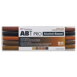 Tombow ABT PRO Alcohol Marker - Dark Hair Tones, Set of 5
