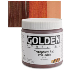 Golden Heavy Body Artist Acrylics - Transparent Red Iron Oxide, 16 oz Jar