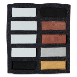 Art Spectrum Extra Soft Square Pastels - Black, White, and Metallics, Set of 10