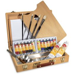 Utrecht Artists' Oil Paint Set - Wood Box Set, 14 colors, Twelve 37 ml tubes, Two 150 ml tubes (Set Contents)