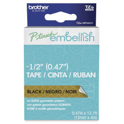 Brother P-Touch Embellish Print Pattern Tape - Black on Gold Geometric