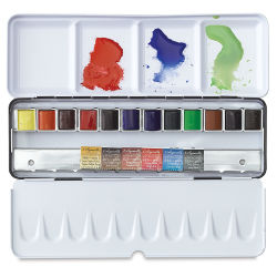 Sennelier French Artists' Watercolors, Half Pan Metal Case, Set of 12 (plus 6 FREE!)