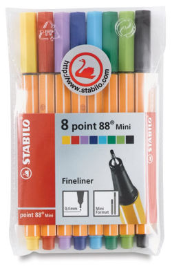 Stabilo Point 88 Mini Pen - Assorted Colors, Wallet , Set of 8