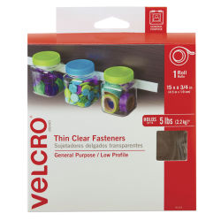 Velcro Sticky Back Fasteners - 3/4'' x 15 ft, Clear Thin, Roll