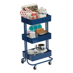 3-Tier Rolling Cart - Blue (Supplies not included)