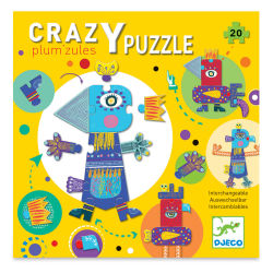 Djeco Giant Floor Puzzle - Crazy Plum'zules, 20 Interchangeable Pieces