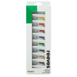 Reeves Acrylic Painting Set - Set of 10 colors, 22 ml tubes