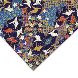 Aitoh Japanese Decorative Paper - Cranes, Red/White/Blue/Gold, 25'' x 18-3/4''