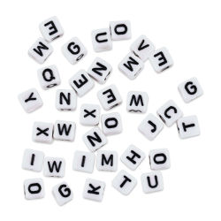 Craft Medley Alphabet Beads - White with Black Letters, Package of 36