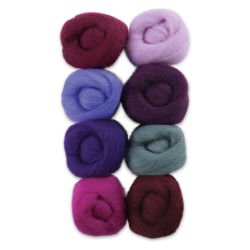 Wistyria Editions 100% Wool Roving - Lilacs, Pkg of 8