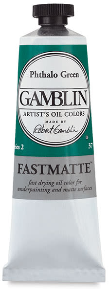 Gamblin FastMatte Alkyd Oil Color - Phthalo Green, 37 ml tube